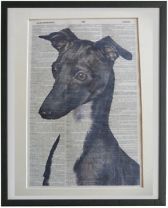 Greyhound Print No.853, whippet poster, dictionary art, book club gifts