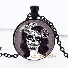 Gothic woman necklace photo Glass Dome black Chain Pendant Necklace wholesale