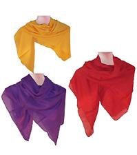 Set 3 foulard tinta unita colori misti 100% cotone 50x50 cm accessori moda donna