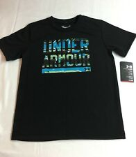 Under Armour New Boys Size 6 Front Logo Black Multi/C Short Sleeve Shirt Tee NWT