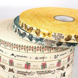 1 Roll Christmas Cotton Ribbon Handmade Design Printed Ribbon DIY Home Decor
