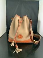 """Vintage Dooney and Bourke, leather, """"sac"""" purse, tan, brown,"""