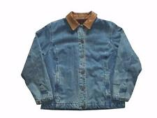 Womens Woolrich Denim Fleece Lined Leather Collar Chore Coat Large