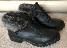 Atmosphere Black Fur Trim Womens Boots, Size UK 7