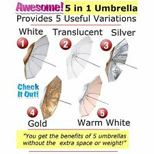 "5 in 1 Reversible 32"" Photo Umbrella White Translucent, Silver Gold, Warm White"
