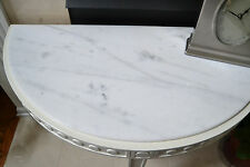 Jonathan Adler - Half Round Table w/white Marble Top - Almond, 3 square legs New