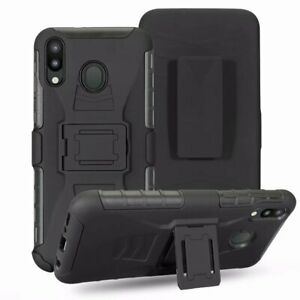 For Huawei Y9 2019, Belt Clip Loop Hybrid Armor Case + Tempered Glass Protector