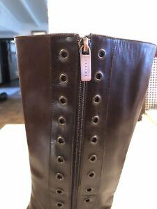Celine Vintage Leather Boots Brown Zip/Eyelets - RARE FIND