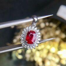 4ct Oval Cut Red Ruby Diamond Halo Pendant 14K White Gold Finish No Chain