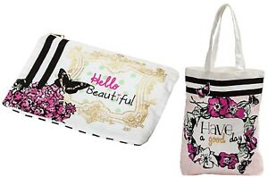 Ladies Gift Set - Butterfly Cotton Tote And Make Up Bags Set