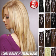 Premium 100% Real Good Clip In Remy Human Hair Extensions Full Head Blondish A39