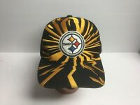 Pittsburgh Steelers Snapback Hat Cap Script Mitchell & Ness Black Yellow NFL