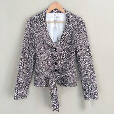 CLASSIQUES ENTIER Ivory Brown Printed Self-Tie Blazer Jacket Women Sz Medium