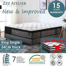 Zzz Atelier BT03PL Chiropractic Pocket Spring Latex Mattress, King Single - White