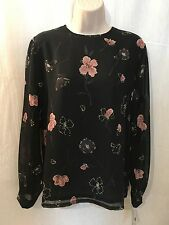 Pendleton Top Sz 8 Black Floral Print Sheer Lined Polyester New 160815
