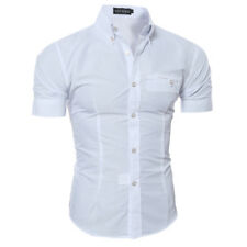 Luxury Men's Slim Fit Shirt Short Sleeve Stylish Formal Casual T-shirt Tops JANE