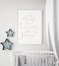 and Though Little She Fierce Black White Print Nursery Kids Girls Room Wall Art A4 (21x29.7cm)