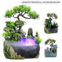 Petite fontaine de bureau rocaille de cascade avec LED lampe changeant décor