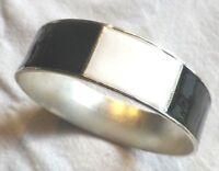bracelet bijou vintage rigide large émail noir et blanc couleur argent * 4289