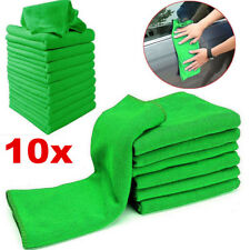 10 Pcs Microfiber Washcloth Green Auto Car Care Cleaning Towels Soft Cloths Tool