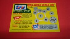 RARE UNSCRATCHED 1982 / 1983 TOPPS WIN A WORLD SERIES TRIP Card
