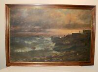 LAREGE original antique nautical coast shore house dock oil painting canvas boat