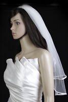 Bridal Wedding Veil 2 Tiers Elbow Length Ivory 1/4in Satin Trim Hem Edge