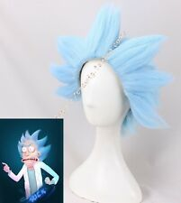 Rick and Morty Blue Style Hair Halloween Fancy Party Cosplay Wig Short Men Props