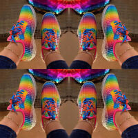 ❤️ Womens Rainbow Lace Up Sneakers Gym Sports Running Trainers Casual Shoes Size