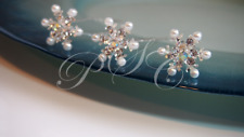 Bridal Hair Pins Pearls Snowflake Flower Wedding Accessory Party White Hairpins