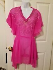 H&M Womens Pink Swimsuit Cover Up Dress Bat Sleeves Semi Sheer Size 8