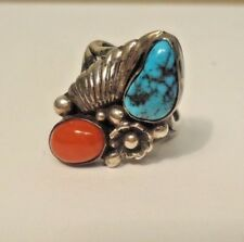 "Willeto"" Navajo Ring Size 5 1/2 Gorgeous Sterling, Turquoise & Coral ""Tom"