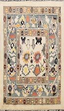 Geometric Ivory Moroccan Berber Oriental Area Rug Hand-knotted Wool Carpet 6'x8'