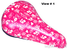 Compact Padded BMX Seat Pink & White Bows & Flowers NEW!