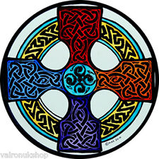 STAINED GLASS WINDOW ART - STATIC CLING  DECORATION -CELTIC CROSS IN MULTICOLOUR