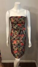 David Meister Red Purple Gold Floral Brocade Strapless Dress Size 6