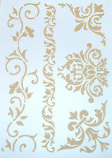 Wall Stencil Reusable Plastic Vector Template Flower Leaves Vines + Brush No17