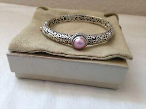 NWOT-Artisan of Bali/Sarda 10mm round pink mabe pearl sterling silver bangle sz7