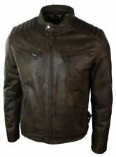Mens Slim Fit Retro Style Zipped Biker Jacket Real Washed Leather Brown Urban
