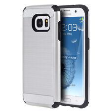 Brushed Metallic Case+Anti-Shock Skin Hybrid Cover for Samsung Models