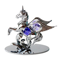 Crystocraft Unicorn Crystal Ornament With Swarovski Elements Gift Boxed Blue
