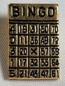 Miniature Golden Bingo Card Buttons. Vintage