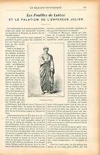Fouilles Archéologiques de Lutèce Palatium Empereur Julien GRAVURE PRINT 1906