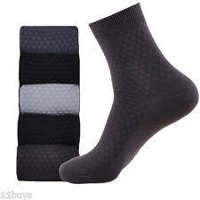 5 Pairs Mens Business Casual Argyle Crew Bamboo Cotton Dress Socks High Quality