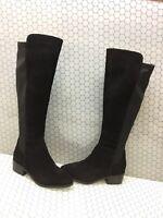 BLONDO 'Gallo' Black Suede/Fabric Side Zip Waterproof Knee High Boots Women's 9M