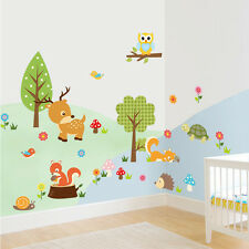 Kids Room Nursery Forest Animal Deer  Wall Stickers Home decor wallpaper Mural