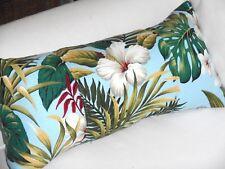 Tropical Hawaiian Cotton Barkcloth Fabric LUMBAR PILLOW ~Hibiscus Garden-Blue~