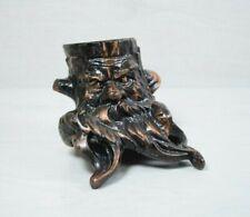 Vintage Metal Bronze Decorative Stump Statue With Beard Face Shelf Decoration