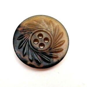 """Large antique/vtg horn button with spiral design, 1 1/4"""""""