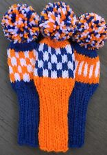 "3 HAND KNIT 8"" GOLF HEAD COVERS ORANGE WHITE SUEDE BLUE HYBRID IRONS FUN GIFT"